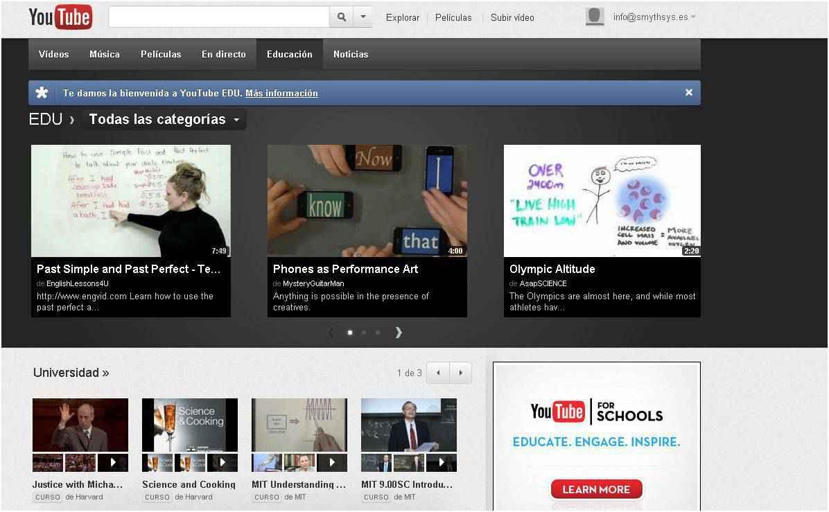 Youtube EDU: Sección de youtube con vídeos educativos Youtube EDU