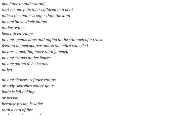 Poema Home De Warsan Shire Sobre La Inmigracion Smyth Academy