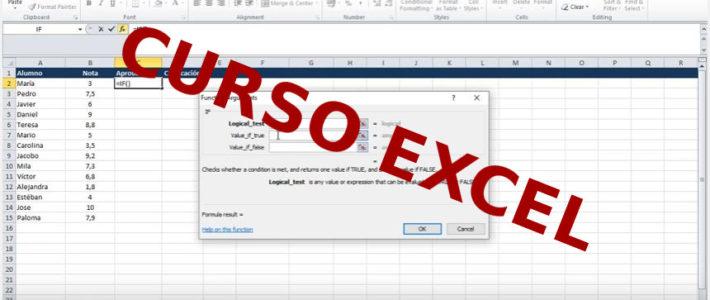 Curso de Excel. Uso de la función IF e IF anidado (en español SI) en un ejemplo