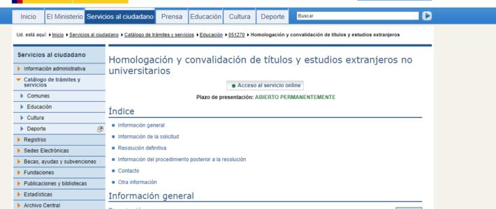 Convalidación de títulos y estudios extranjeros al sistema español I