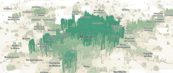 Mapa en 3D para ver la población mundial.