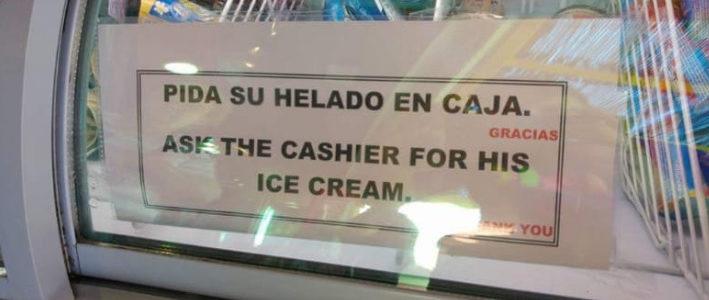 Un poco de interés por el helado del cajero, por favor.