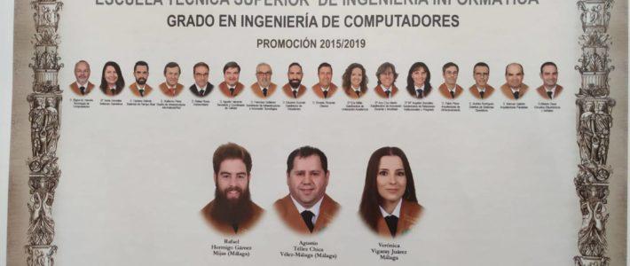 Tres graduados y quince profesores, la orla de Ingeniería de Computadores.